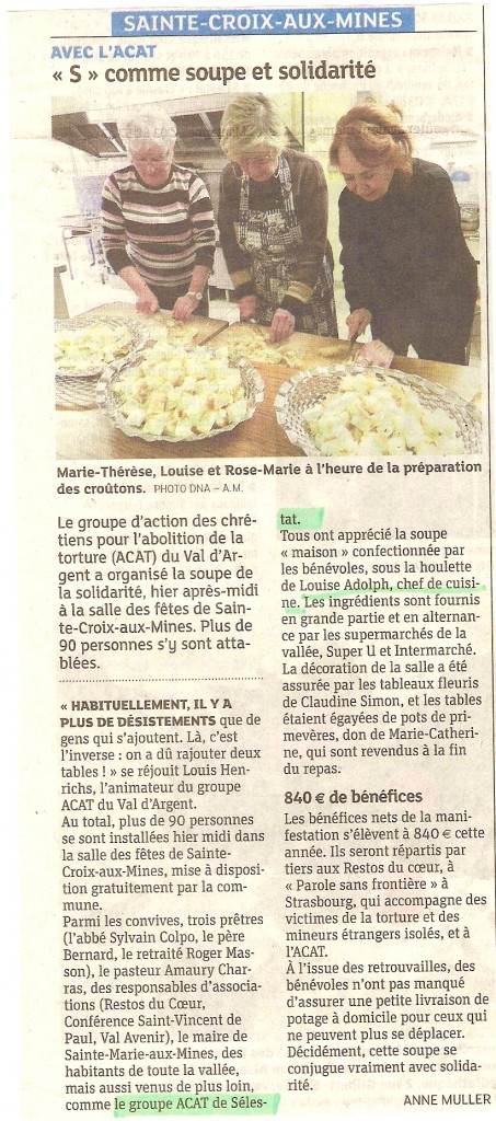 Soupe & solidarité avec Louise de l' ACAT Sélestat